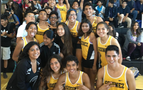 Boys' and Girls' Varsity Cross Country runners at the fall pep rally.
