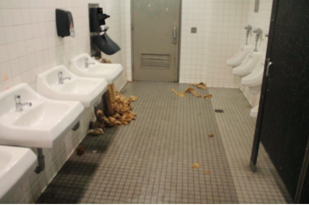 what the boys bathroom looks like on a typical day during lunch this was taken - Boys Bathroom