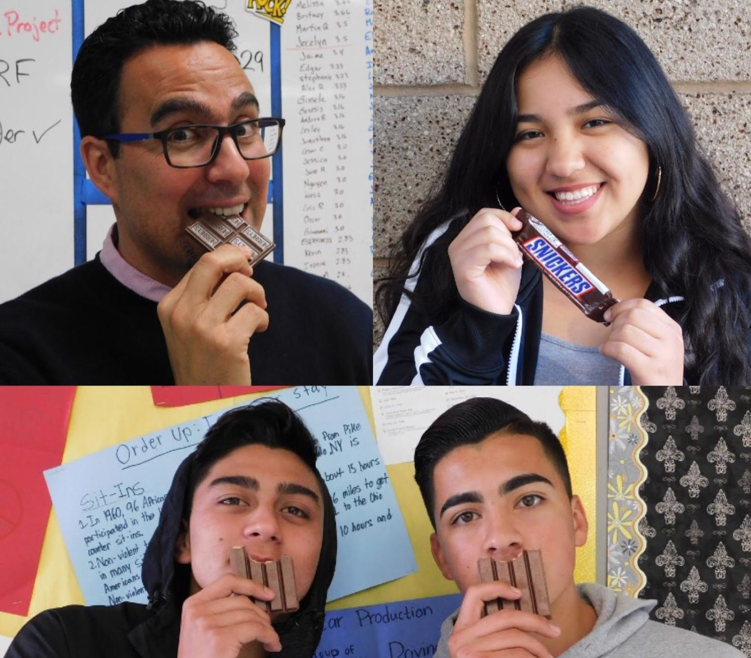 From upper left colckwise: Teacher Daniel Tena, and Grizzlies Vanessa Aranda Jesse Cedejas and Julian Reyes enjoy their favorite chocolate bars.