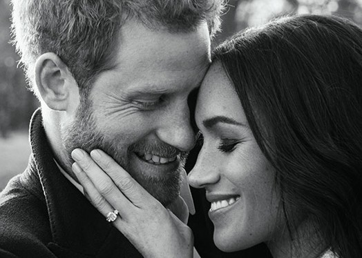 Prince Harry and his fiance Meghan Markle shine in their engagement photo.