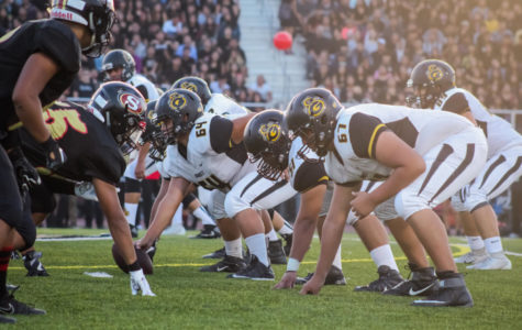 Godinez varsity football team gets ready to run a play against Segerstrom High School at the Santa Ana Public Schools Sports Complex on Friday, Aug. 24, 2018.