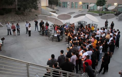 Former and current Grizzlies gather on campus in the quad to remember Andrew Loera on Saturday, Aug. 25.