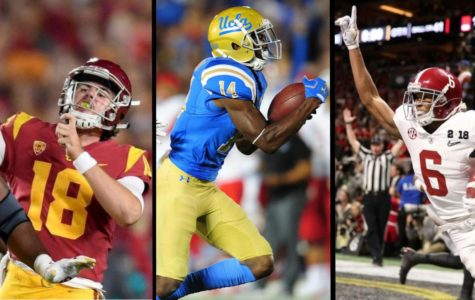 (Left to Right) JT Daniels #18, Kyrs Barnes #14, Devonta Smith #6 playing in their respective teams for the college football season.