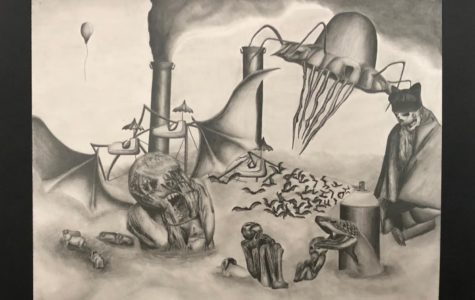 WINGED SURREAL DREAM by Jorge Pacheco using Graphite Pencil drawn in his Art 3, Advanced Drawing and Painting class last year.