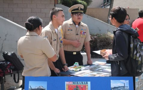 Sonia Bravo ,Elias Lopez and Guadalupe Perez longside, members of the MCAS Miramar Club talking to a student. MCAS Miramar Club is a club where students are able to do community service hours as well as learn leadership skills, by working together and gaining knowledge on what it take to be part of the Marines.