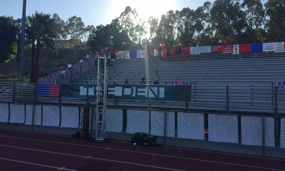 Aliso Nigel's red, white, and blue themed bleachers at Aliso Niguel's stadium on Sep. 7, 2018, game against Santa Ana High School.