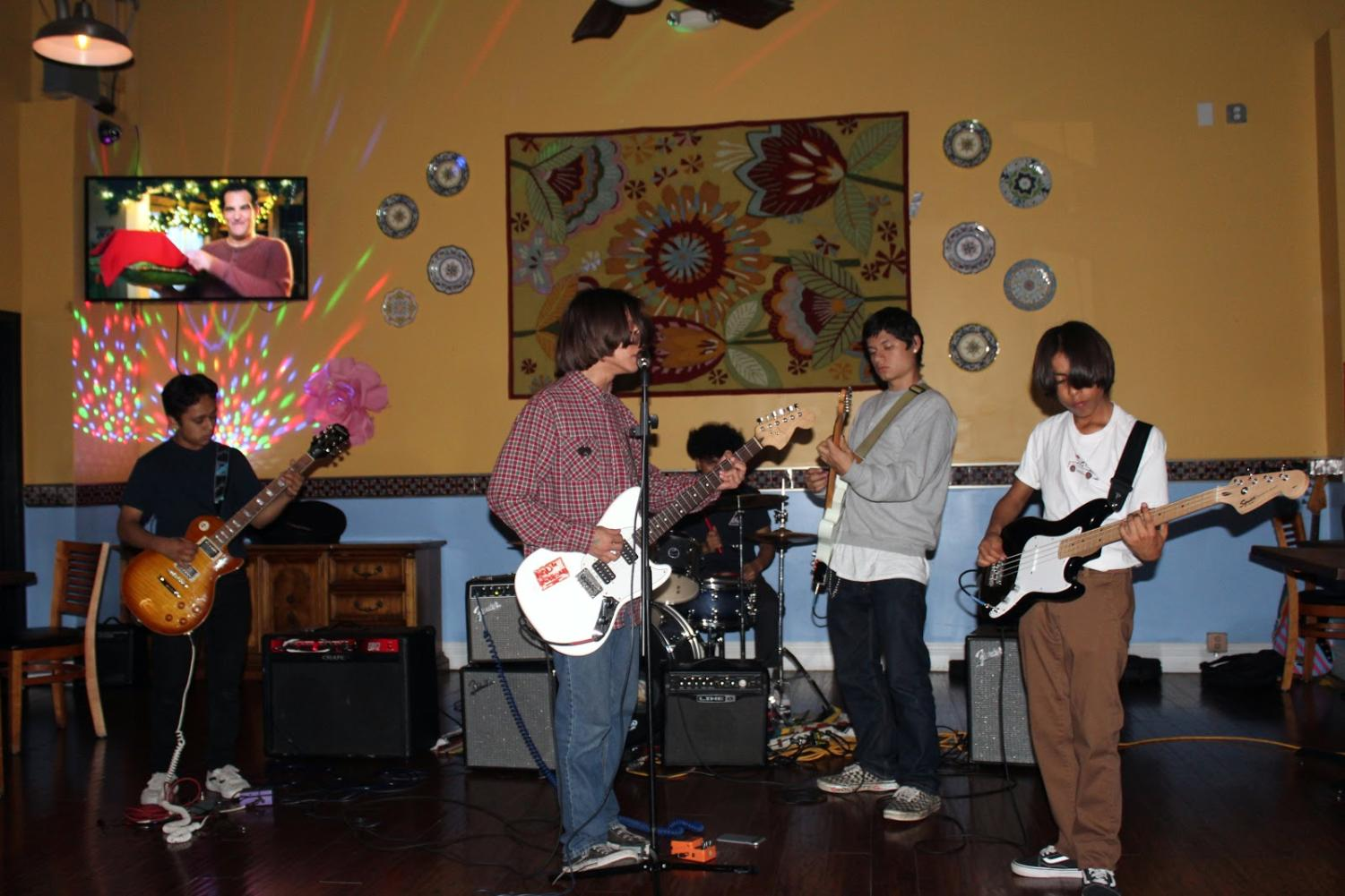 (From left to right) Guitarist Chris Munoz, Guitarist and Singer Brandon Mazon,  Drummer Yoshi Garcia, Danny Rico, Irvin Martinez