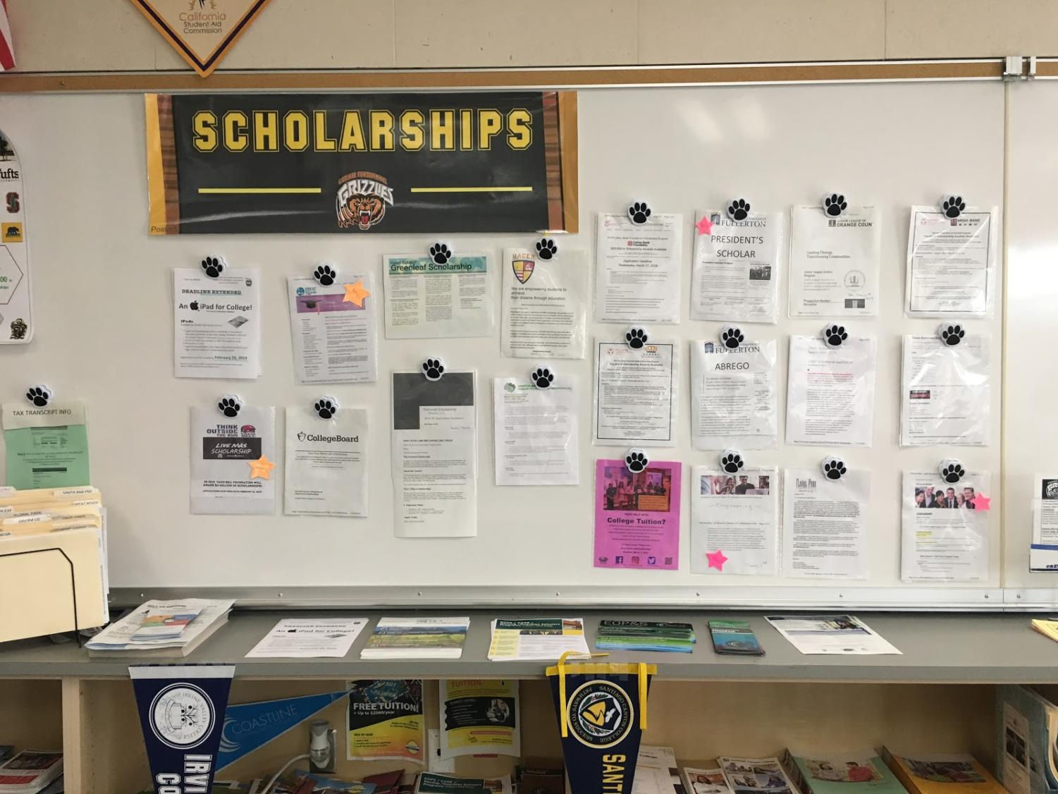 Various scholarship opportunities available to students located on the wall in the Higher Ed. Center in the Counseling Center at Godinez Fundamental High School.