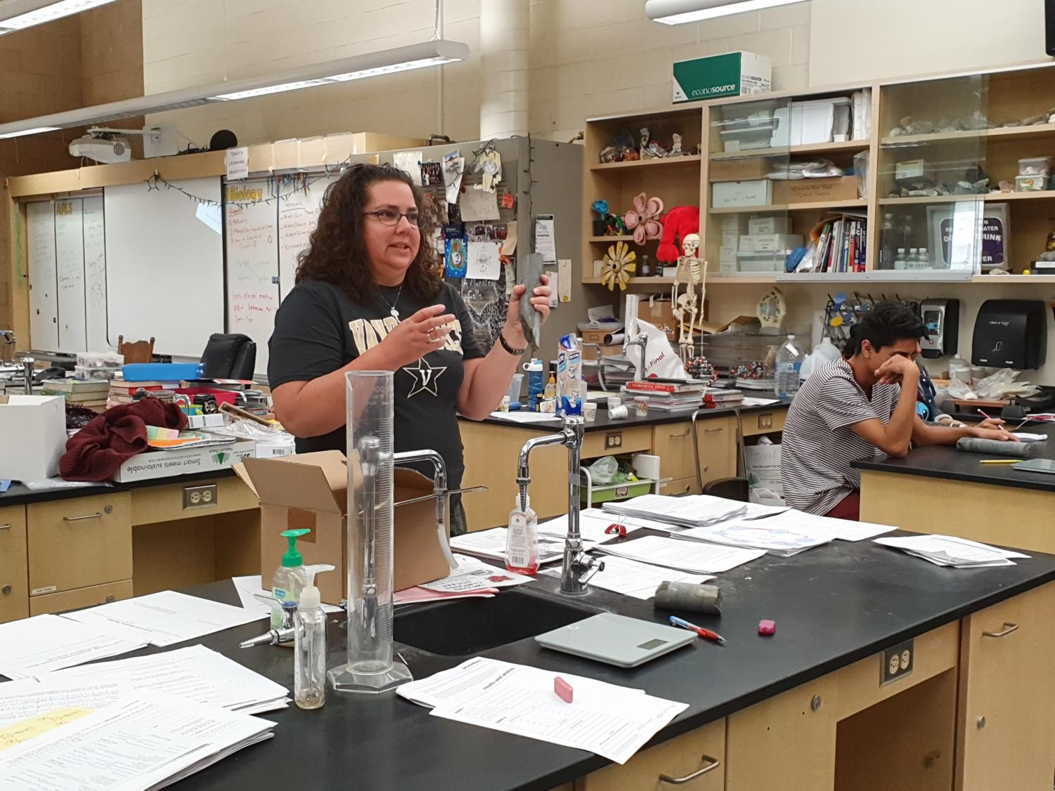 Jill Lytle, AP Environmental and Biology teacher, reviewing the density of rock levels. Photo taken on March 27 at 10:20 a.m.