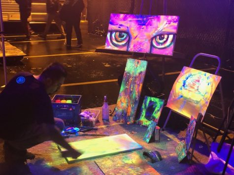 Saturday, Artist Romeoone using acrylic glow in the dark paint for his new piece, March 2, 2019.