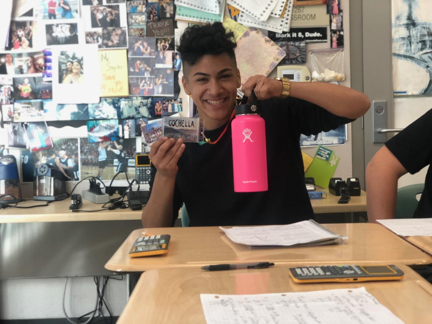 Junior Miguel Paz trusts his Hydro Flask to get through a long day of classes at Godinez Fundamental High School.