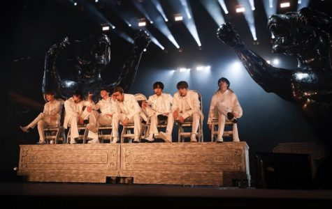 From left to right, BTS members Suga, Jungkook, J-Hope, RM, V, Jin, and Jimin finish their opening stage at their sold-out stadium show at Rose Bowl, Pasadena on May 04, 2019.