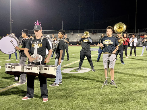 Marching band performing on the football field during the halftime show. Taken on October 25th, 2019.