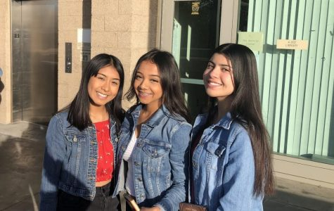 Sophomore Samantha Etchechury (right) with her friends Isabelle Mendoza (left) and Heidy Ramirez (center) check out