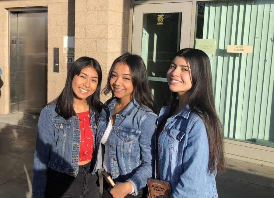Sophomore+Samantha+Etchechury+%28right%29+with+her+friends+Isabelle+Mendoza+%28left%29+and+Heidy+Ramirez+%28center%29+check+out+%22Animal+Farm%22+for+their+English+class+on+December+6th%2C+2019.++Etchechury+won%27t+be+traveling+for+Christmas+break%2C+but+will+stay+home+and+spend+time+with+her+family.+She+plans+on+hanging+out+with+her+friends+during+break.+Etchechury+typically+enjoys+the+food+and+shares+some+laughs+with+her+family.+She+doesn%E2%80%99t+have+any+traditions+for+Christmas.+Etchechury+is+very+excited+for+the+New+Year+and+hopes+next+year+will+be+better+than+the+last.+