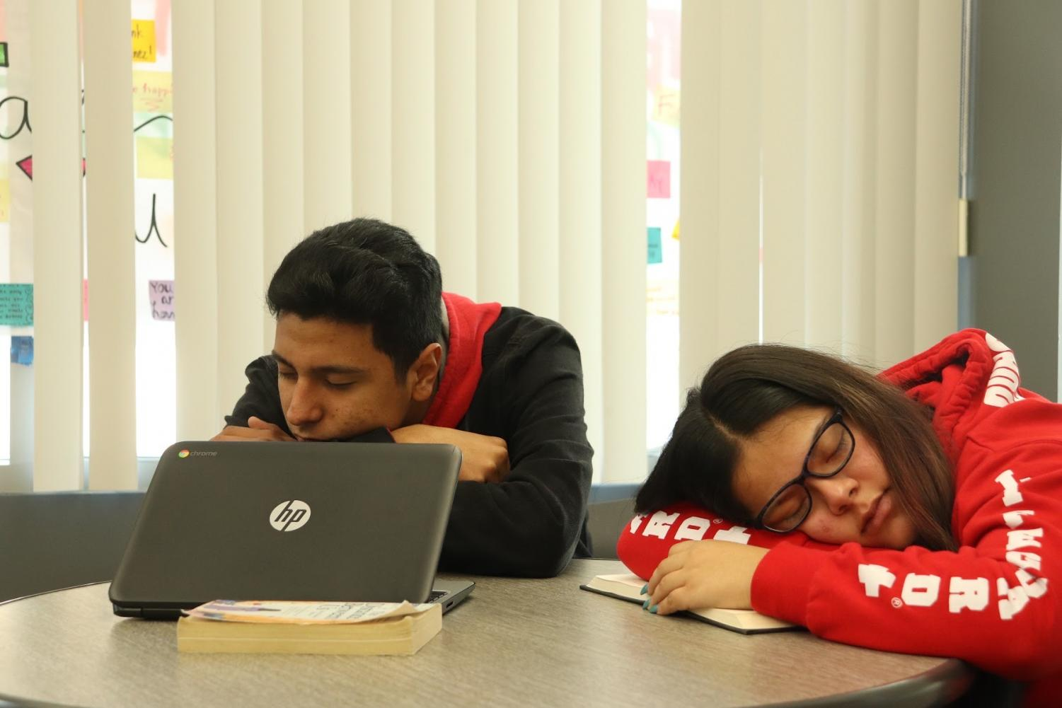 Two of our journalism students, Jonathan Uriostegui (left) and Editor-in-Chief Ashley Ortega (right), hope to stay awake after the new later start times commence. Photo taken Jan. 22, 2020 in the Wellness Center at 8:53 a.m.