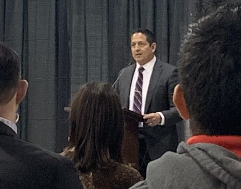 Photo of new Superintendent Jerry Almendarez as he speaks at SAUSD Meet and Greet at Villa Fundamental Intermediate School's multipurpose room on February 5, 2020.