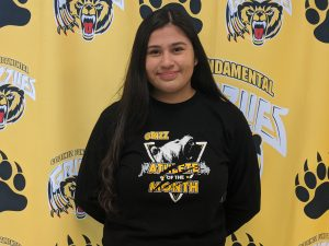 Senior, Natalie Flores as Athlete of the Month for Girls Basketball for the month of January.