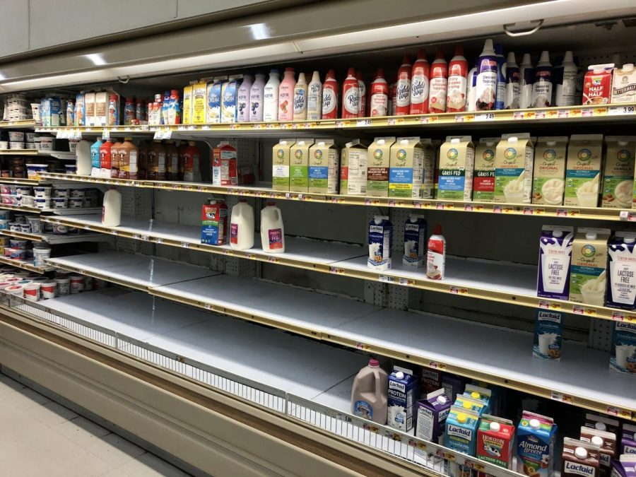 As COVID-19 spreads, families prepare. As seen in this photo, there is limited stock of milk at Stater Bros on Edinger Ave. in Santa Ana.  Photo taken at Stater Bros on Friday, March 13, 2020 at 8:06 p.m.