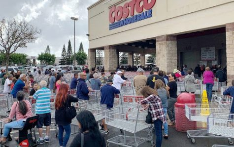 Coronavirus has left many stores, like Costco, out of toilet paper and paper towels. Stores are also running out of: meat, milk, water, and other grocery items. This picture was taken March 15, 2020, at Costco in Costa Mesa, off Harbor Boulevard and MacArthur. The line to enter the store went out onto the parking lot, as seen here.