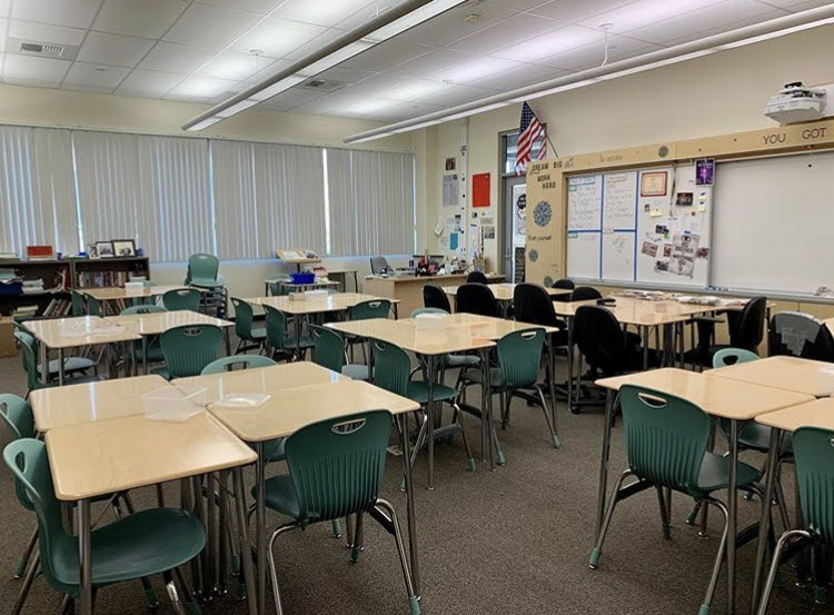 Photo of journalism's empty classroom taken after the last day of instruction on Monday, March 16, 2020.