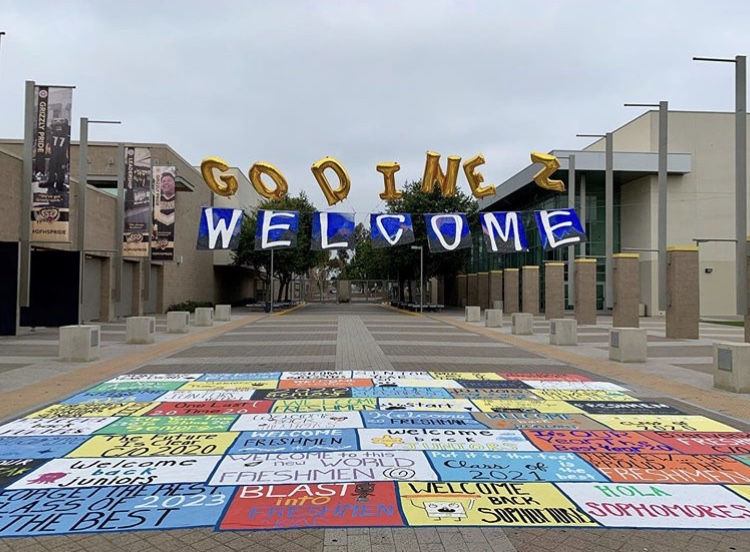 This was the first day of school welcome mural for  the 2019-2020 school year created by GFHS Associated Body Students. Picture taken August 12, 2019