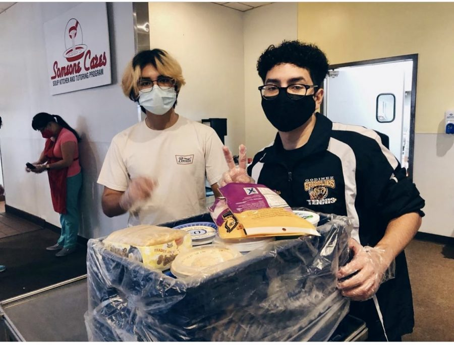 From left, seniors Jesus Mora and Ivan Villegas cleaned Someone Cares Soup Kitchen on Sunday, October 18, 2020.