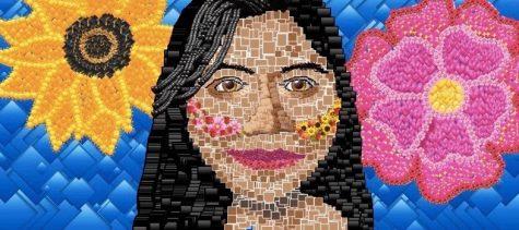 "Senior and Art 1 student, Ashley Palemonte, art titled ""Emoji Me."""