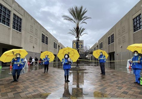 Latino Health Access administering COVID-19 tests rain or shine. Photo taken on Jan. 30, 2021 in Santa Ana.