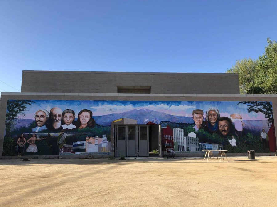 The mural at the Heritage Museum of Orange County that student Katrina Mena worked on for close to a year. The mural shows the history of Santa Ana.
