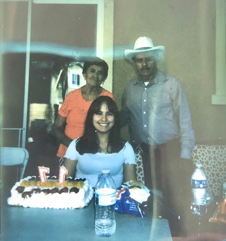 Our reporter, Mercedes Barriga (center), with her grandparents Mercedes and Trinidad Barriga.