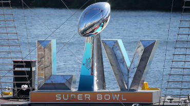 The winning trophy is displayed for Super Bowl 55 that is played this Sunday in Tampa, Florida.