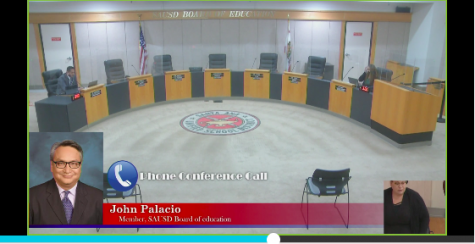 A photo from the mostly virtual SAUSD School Board meeting who met on March 23, 2021, to decide on students