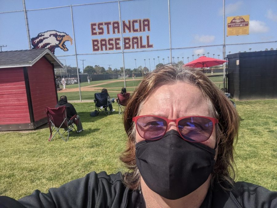 Lisa Treen takes a selfie at the baseball game where Godinez played Estancia High School on Saturday, March 20, 2021.