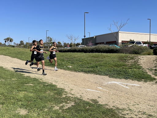 Two Godinez cross country boys Gabriel Abarca (left) and Jayden Hernandez (right) running the course at Central Park in Huntington Beach. Photo taken March 18, 2021 at 3:46 p.m.