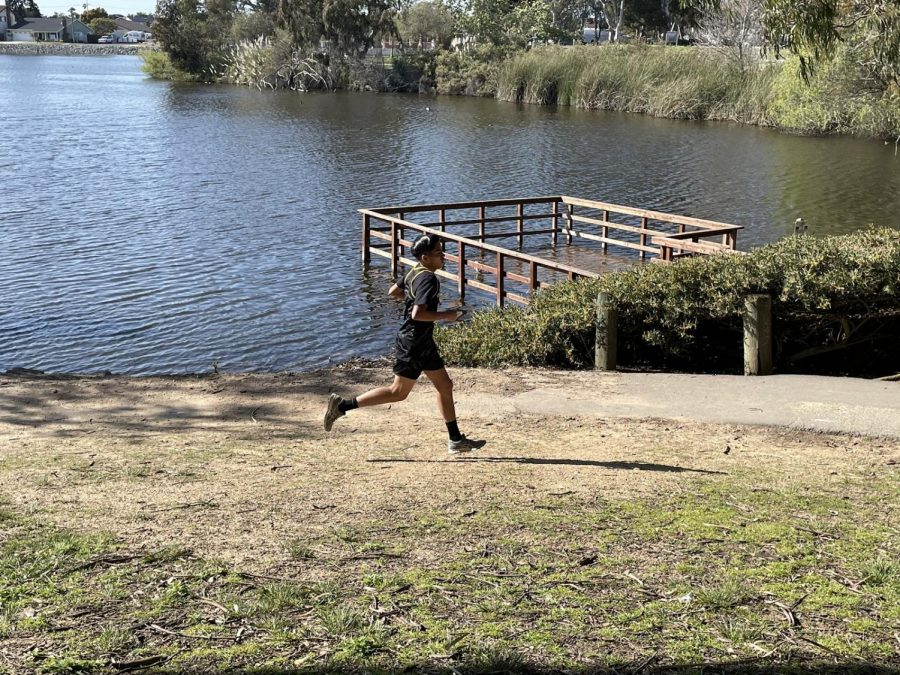 Senior Gabriel Abarca running strong the last 1.5 miles. Photo taken March 18, 2021 at 3:57 p.m.