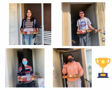 Quiz Bowl champs from top left, clockwise, Mercedes Barriga, Michael Martinez, Emily Lai, and Ariel Bernabe, receive pizza after their victory win against Segerstrom High School.