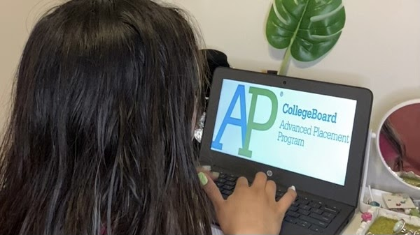 Sophomore at Godinez Fundamental High School, Adriana Estrada, prepares for her upcoming Advanced Placement exam. Photo taken May 10, 2021.