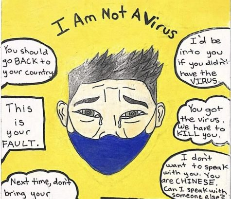 A drawing by Floricanto Club president Robert Andaluz to spread awareness of Asian hate.