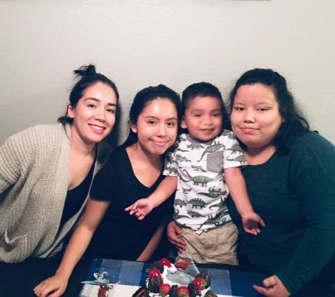 From left to right, mom Guadalupe Cornejo, sister Vanessa Flores, brother Mateo Florentino, and Monserrat Flores celebrate their mom