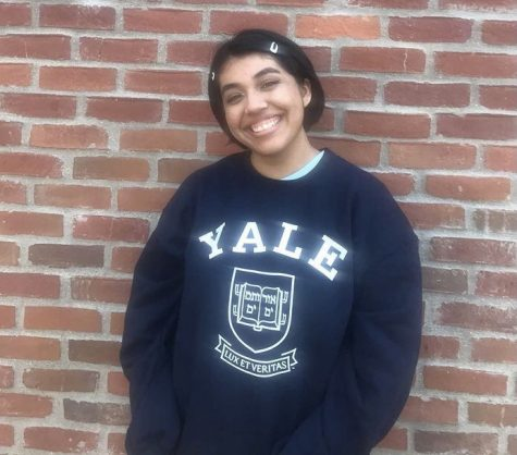 Montserrat Rodriguez poses in her Yale college t-shirt.
