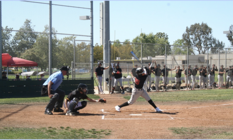 Senior Andrew Maravilla, catches the ball to get a strike against Segerstrom. Photo taken on April 28 at 3:21 p.m.