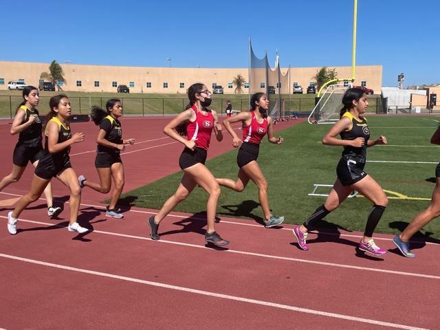 Godinez's varsity team run the 1600 meter event at Segerstrom's track. Photo taken April 28, 2021 at 3:32 p.m.