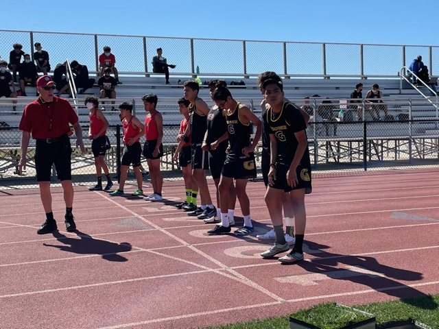 Varsity distance team on the line to run the 1600 meter event at Segerstrom's track. Photo taken April 28, 2021 at 3:48 p.m.