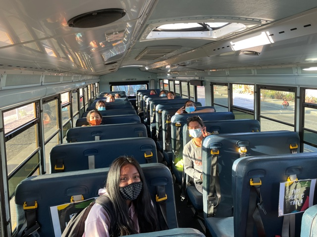 Godinez's girls track and field team on the bus at Segerstrom ready to go home. Photo taken April 28, 2021 at 6:26 p.m.