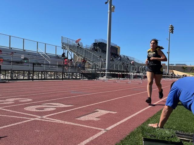 Freshman Celicia Radillo finish the last couple meters of the 1600 meter event at Segerstrom's track. Photo taken April 28, 2021 at 3:28 p.m.