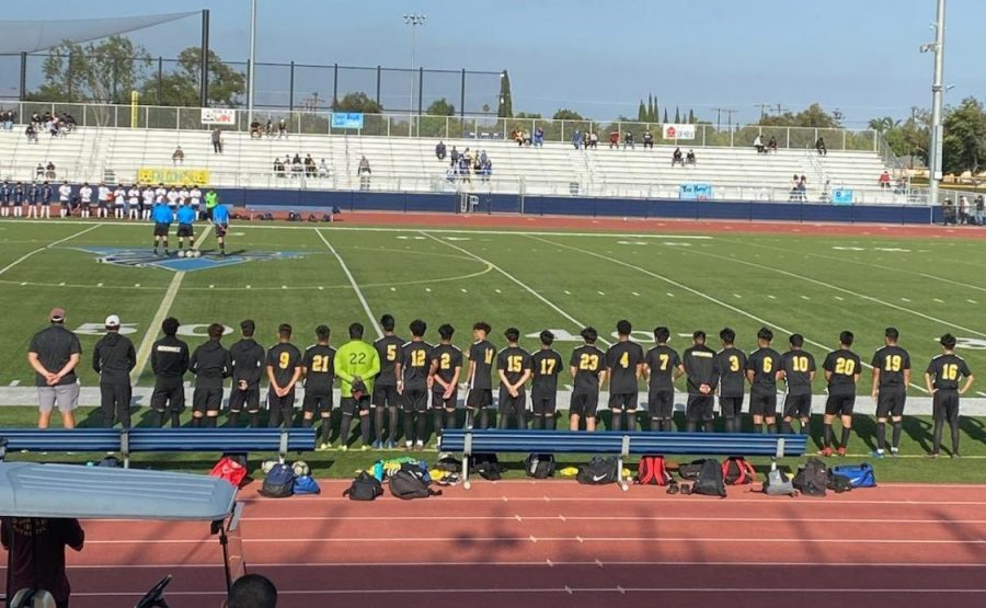 The soccer team waits for the game to start for the quarter finals with Santa Ana Valley at Valley High School Stadium. Photo taken May 20, 2021.