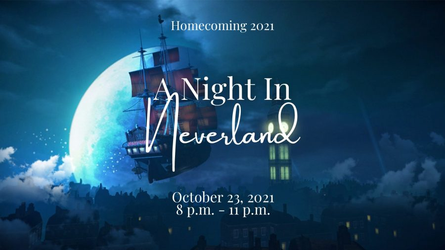 """This year's Homecoming is titled """"A Night In Neverland"""" and is to take place October 23, 2021 from 8 p.m. to 11 p.m."""