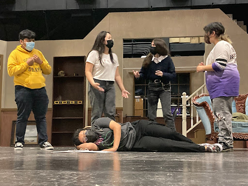 Drama students rehearse in the Godinez theatre for the fall play. Photo taken October 6, 2021.