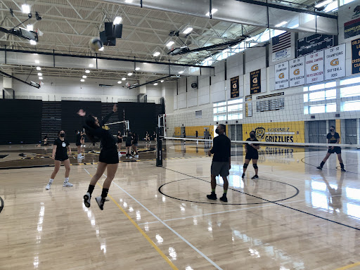 Girls Volleyball team practice inside the gym for the upcoming game against Segerstrom. Photo taken on Oct. 6, 2021 at 2:38 p.m..